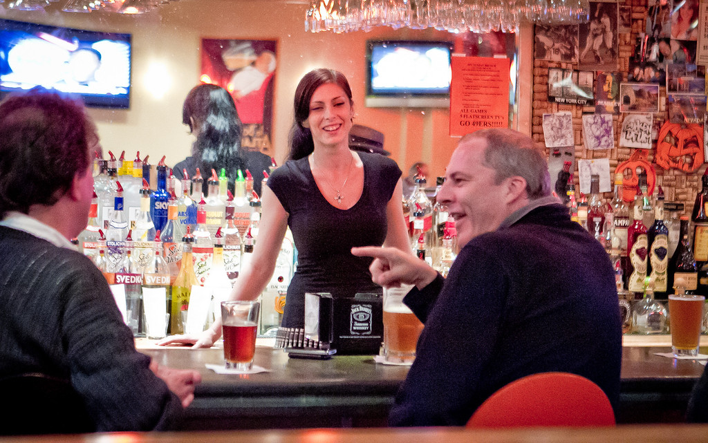 Bartender Sarah Johnson talks with customers at the Broken Drum Brewery in San Rafael, Calif., on Wednesday, November 7th, 2012.
