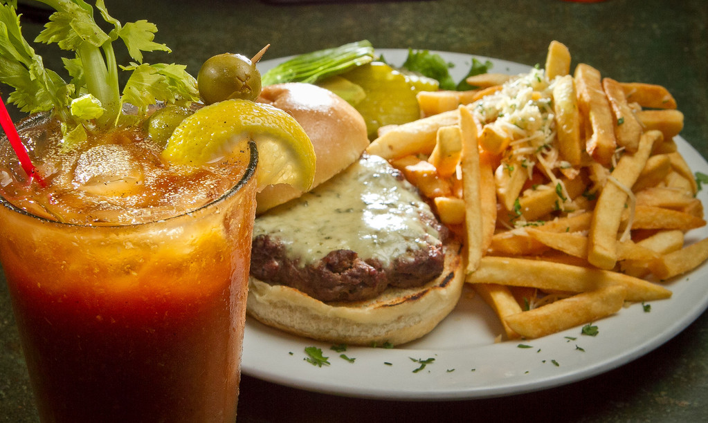 The Black and Blue Burger with a Bloody Mary at the Broken Drum Brewery in San Rafael, Calif., is seen on Wednesday, November 7th, 2012.