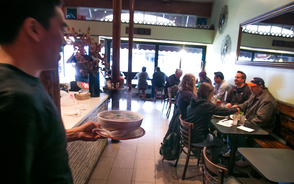 Pho being brought out of the kitchen at Cafe Bunn Mi in San Francisco, Calif., on Tuesday, November 20th, 2012.