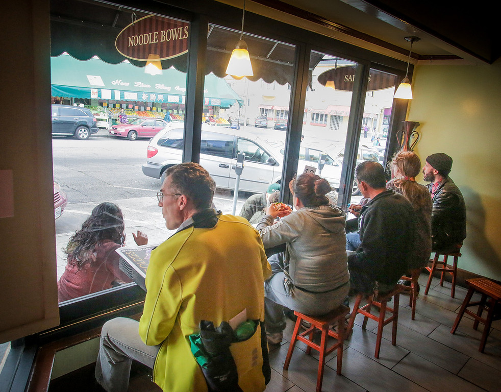People enjoy lunch at Cafe Bunn Mi in San Francisco, Calif., on Tuesday, November 20th, 2012.