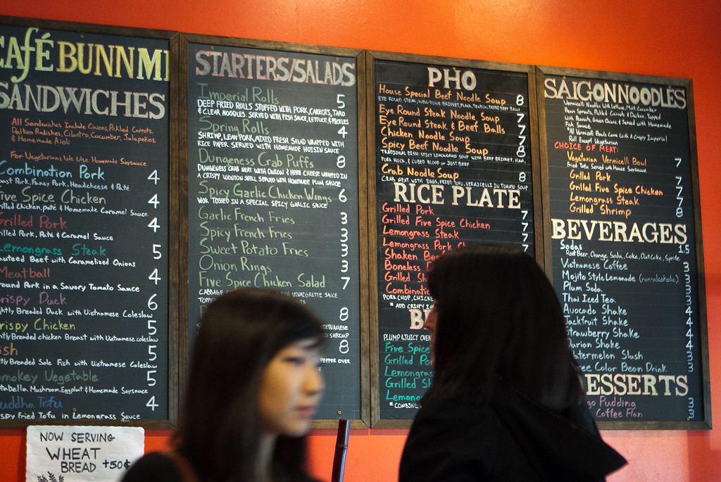 The menu at Cafe Bunn Mi in San Francisco, Calif., is seen on Tuesday, November 20th, 2012.