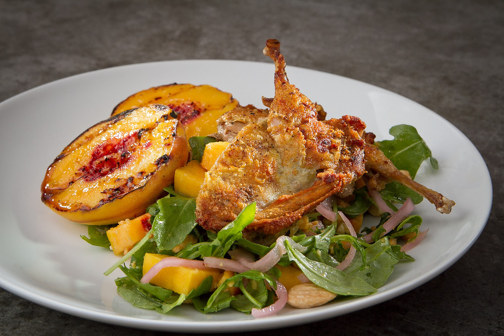 The crispy Quail with Peaches at Campo Fina restaurant in Healdsburg, Calif., is seen on Wednesday, September 6th, 2012.
