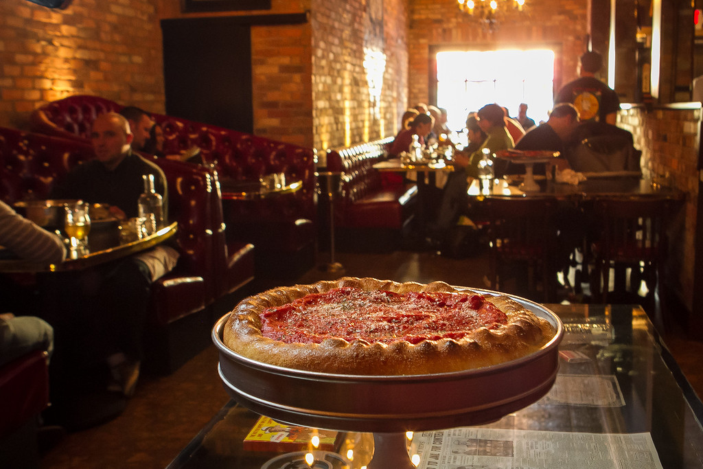"The stuffed ""Sam Giancana"" pizza at Capo's restaurant in San Francisco, Calif., is seen on Sunday, January 6th, 2013."