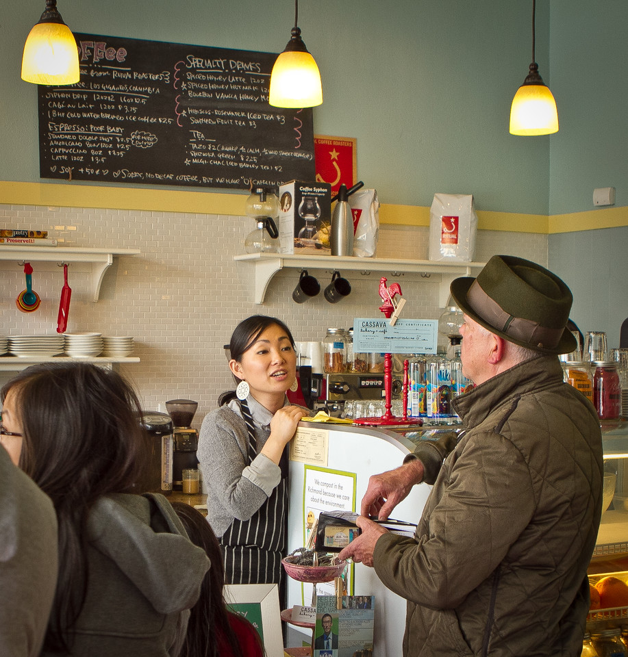 /Owner Yuka Ioroi talks with a customer at Cassava Bakery & Cafe in San Francisco, Calif., on Saturday, August 18th, 2012.