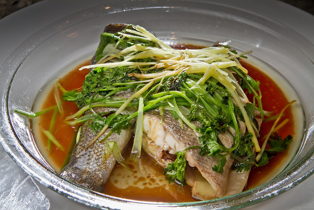Chef Charles Phan's Steamed Whole Fish with Ginger, Scallions and Soy in Mill Valley on Tuesday, September 11th, 2012.