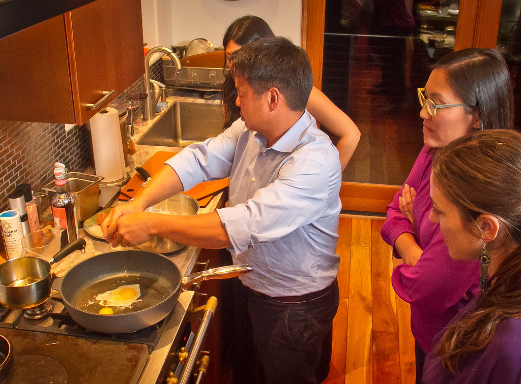 Chef Charles Phan cooks eggs for his Mix-and-Match Wok-Fried Noodles in Mill Valley on Tuesday, September 11th, 2012.