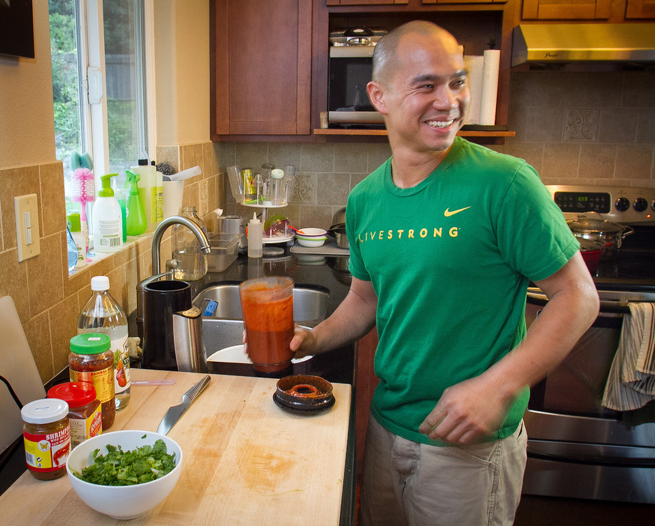 Chef James Syhabout of Commis makes the sauce for the Thai Hot Pot at his home in Oakland, Calif., on Tuesday, May 1st, 2012.