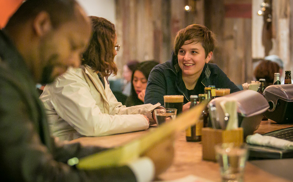 People enjoy Happy Hour at Chop Bar in Oakland, Calif., on Thursday, February 7th, 2013.