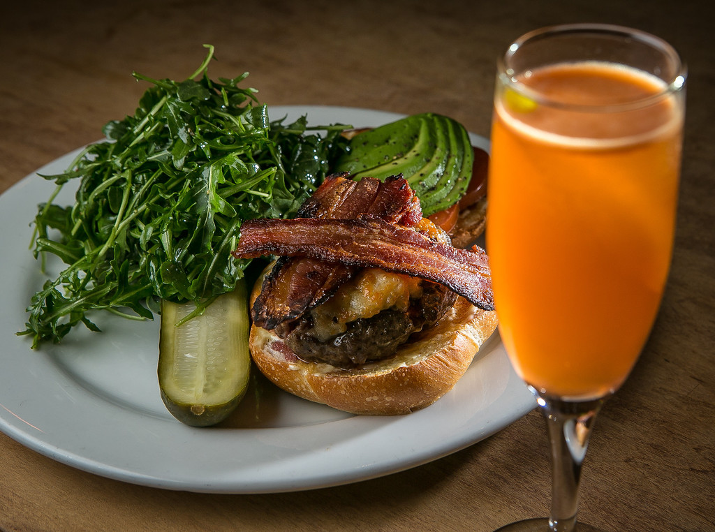The Chop Burger with the Dzul cocktail at the Chop Bar in Oakland, Calif., is seen on Thursday, February 7th, 2013.