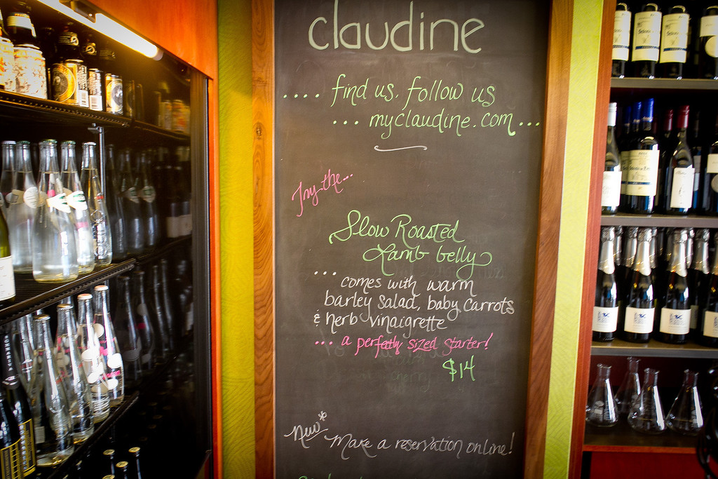 The Specials Board at Claudine Restaurant in San Francisco, Calif., is seen on Monday, March 5th, 2012.