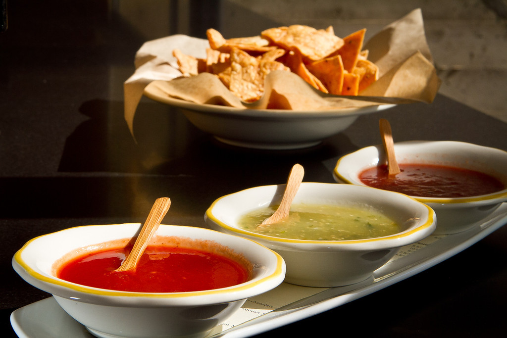 The Chips with three Salsas at Comal Restaurant  in Berkeley, Calif., are seen on Tuesday, July 3rd, 2012.