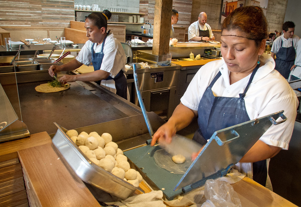 Maria Aquino makes Tortillas at Comal Restaurant  in Berkeley, Calif., on Tuesday, July 3rd, 2012.