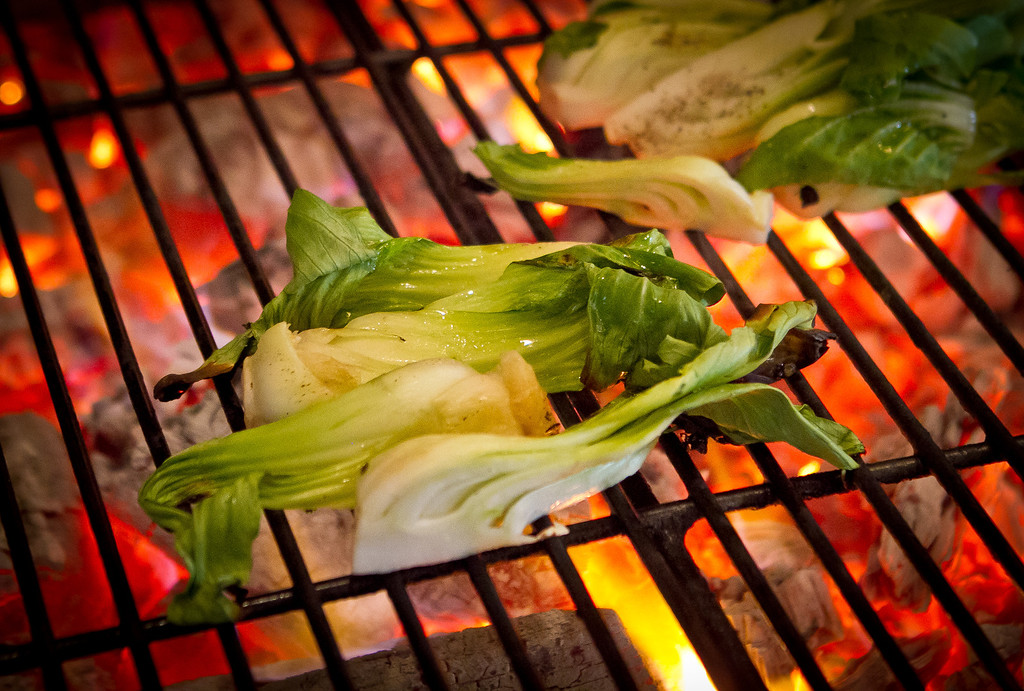 Bok Choy being grilled at Comal Restaurant  in Berkeley, Calif., on Tuesday, July 3rd, 2012.