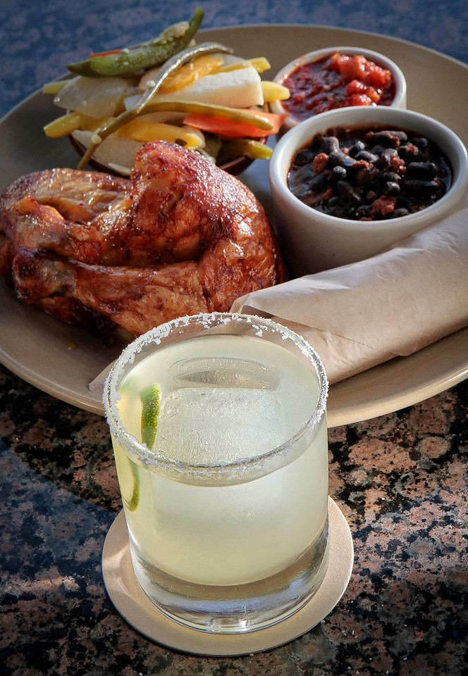 The Wood-Roasted Guajillo Chicken with a Margarita at Copita Taqueria and Comida in Sausalito, Calif., is seen on Thursday, July 26th, 2012.