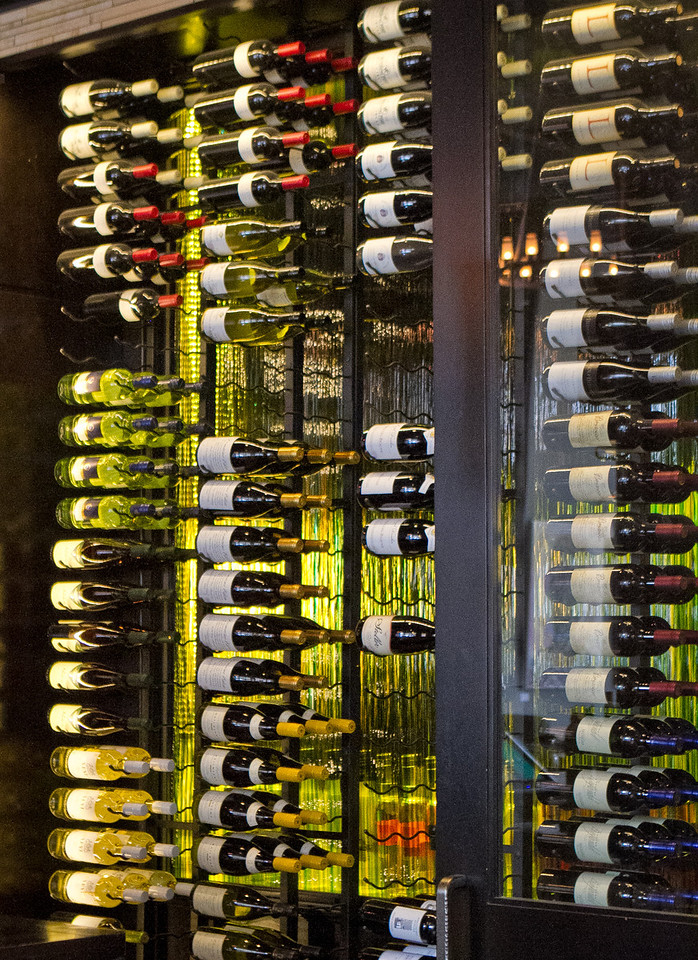 The wine rack at District in Oakland, Calif., is seen on Thursday, October 11th, 2012.