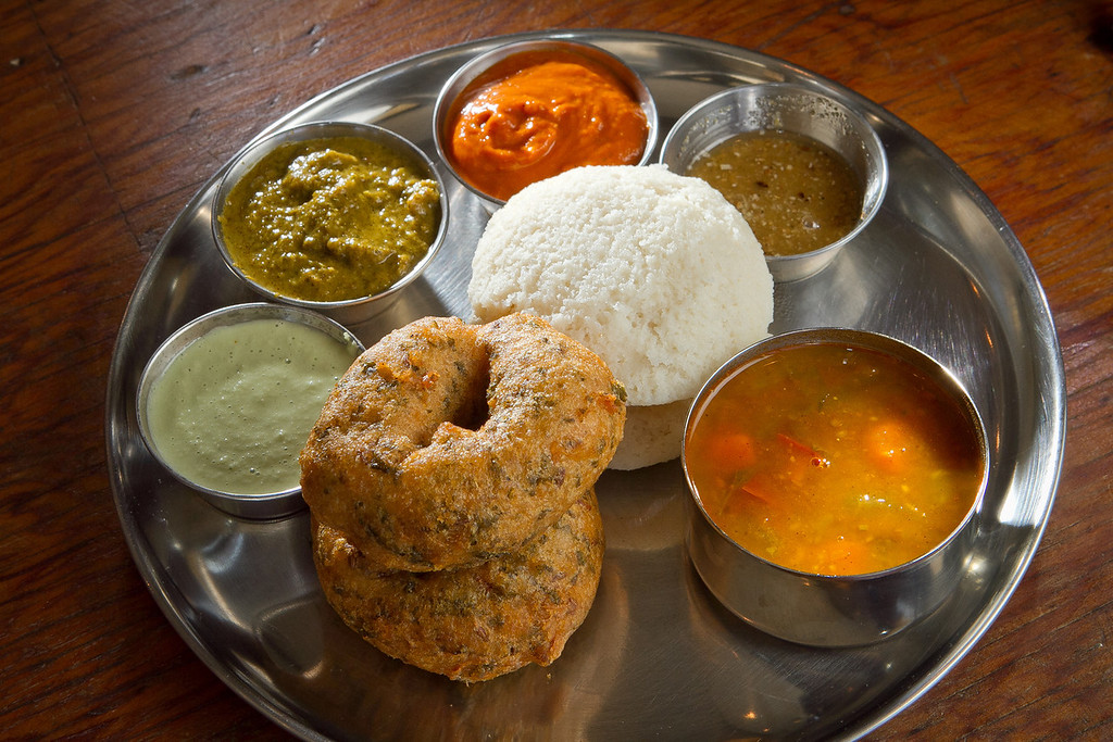 The Idil Vada, seemed Rice Cake and Fried Lentil and Kale Dumpling at Dosa Republic in San Mateo, Calif., is seen on Thursday, September 7th, 2012.