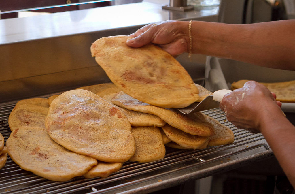 Huarache being stacked after being grilled at El Huarache Loco in Larkspur, Calif., on Friday, August 3rd, 2012.