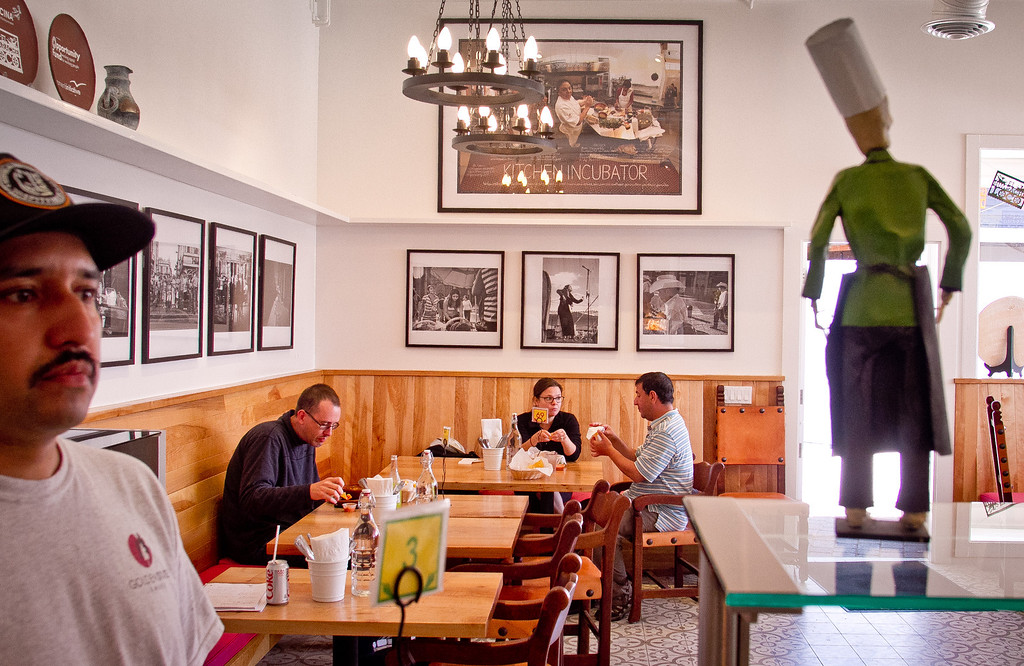 People have lunch at El Huarache Loco in Larkspur, Calif., on Friday, August 3rd, 2012.