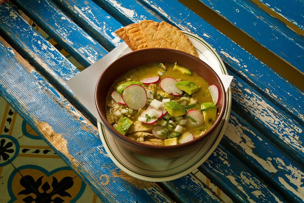 The Chicken Pozole Verde at El Molina Central in Boyes Hot Springs, Calif. is seen on April 12th, 2012.