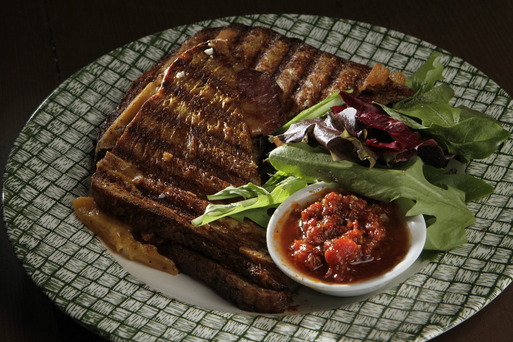 The Wisconsin Cheddar with Tasso Ham grilled cheese sandwich at Epicurean Connection in Sonoma, Calif.,  is seen on Wednesday, May 16th, 2012.