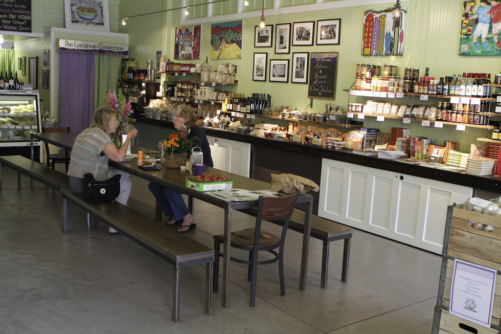 Two women enjoy lunch at the Epicurean Connection in Sonoma, Calif.,  on Wednesday, May 16th, 2012.