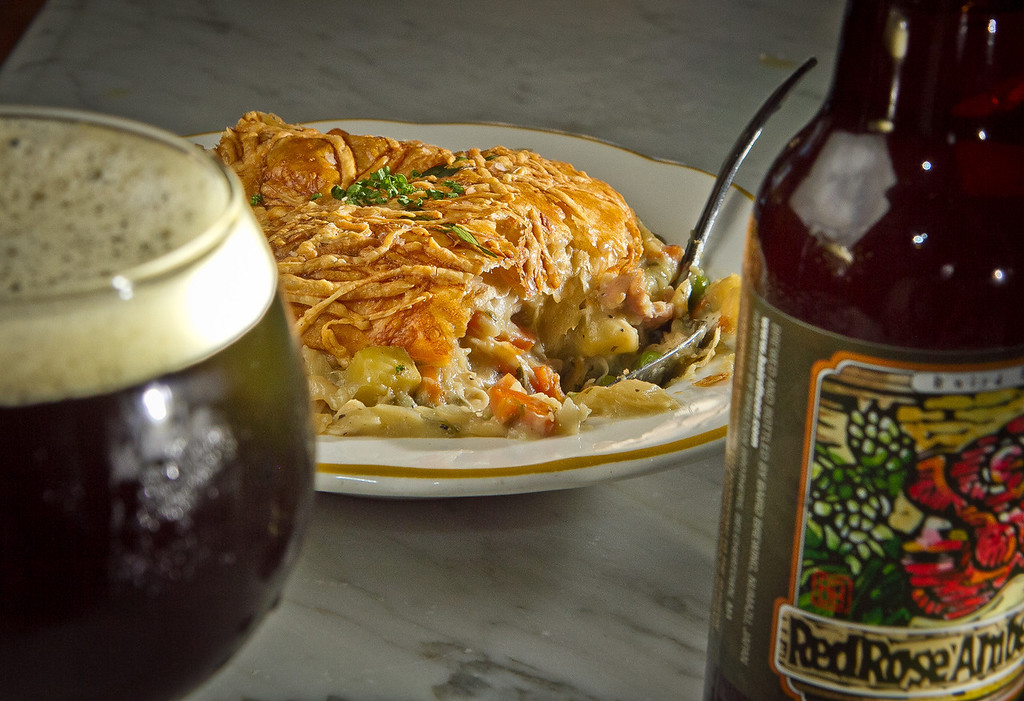 The Chicken Pot Pie with a Red Rose Amber Ale at Fat Angel in San Francisco, Calif., is seen on Wednesday, June 20th, 2012.