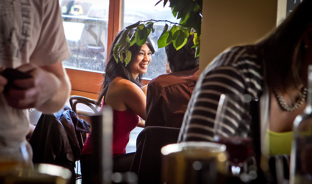 People enjoy happy hour at Fat Angel in San Francisco, Calif., on Wednesday, June 20th, 2012.