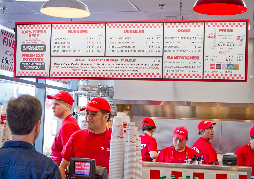 The menu at Five Guys Burgers in Burlingame, Calif., is seen on Thursday, February 2, 2012.