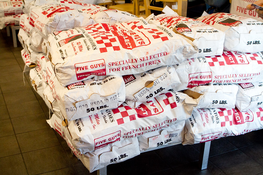 Potatoes waiting for the fryer at Five Guys Burgers in Burlingame, Calif., on Thursday, February 2, 2012.
