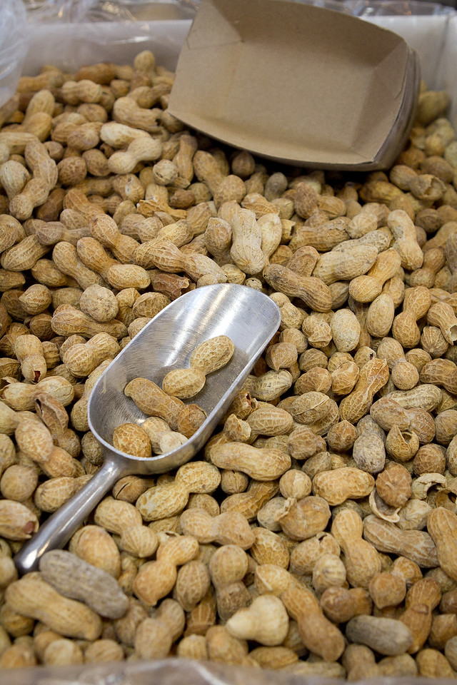 Peanuts for snacking on while people wait for their burgers at Five Guys Burgers in Burlingame, Calif., on Thursday, February 2, 2012.