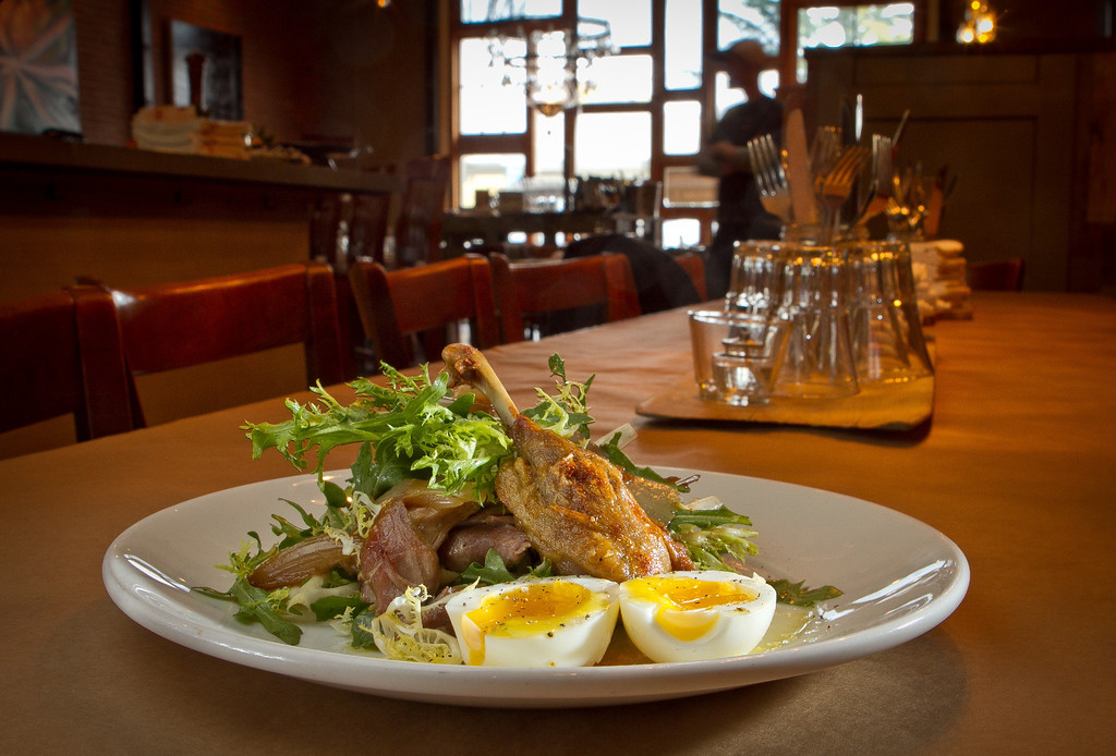 Insalata d'Anatra with Duck Confit and Egg at Forchetta restaurant in Sebastopol, Calif. is seen on Thursday April 12th, 2012.