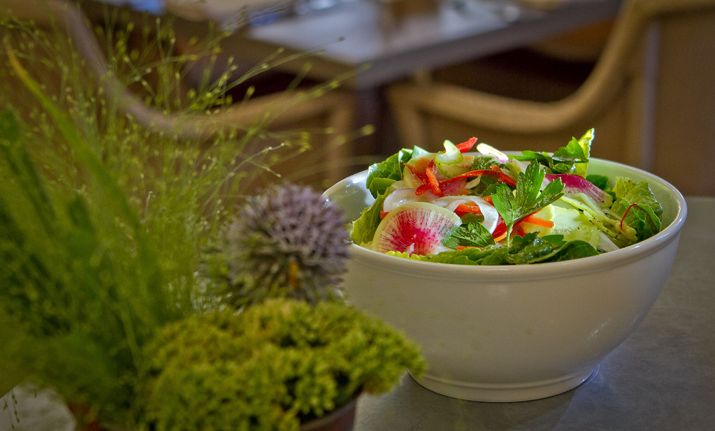 The Salad of Farmer Omar's Vegetables at French Blue restaurant in St. Helena, Calif., is seen on Friday, August 10th, 2012.