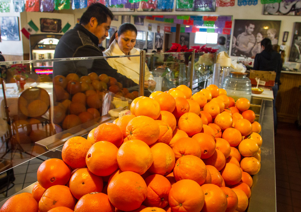 Oranges on display for making fresh juice at Gallardo's restaurant in San Francisco, Calif. are seen on Sunday, December 16th, 2012.