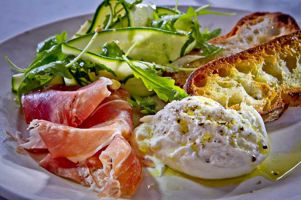 The Burrata with Prosciutto and Crostini at Giola Pizzeria in San Francisco, Calif., is seen on Friday, June 22nd, 2012.