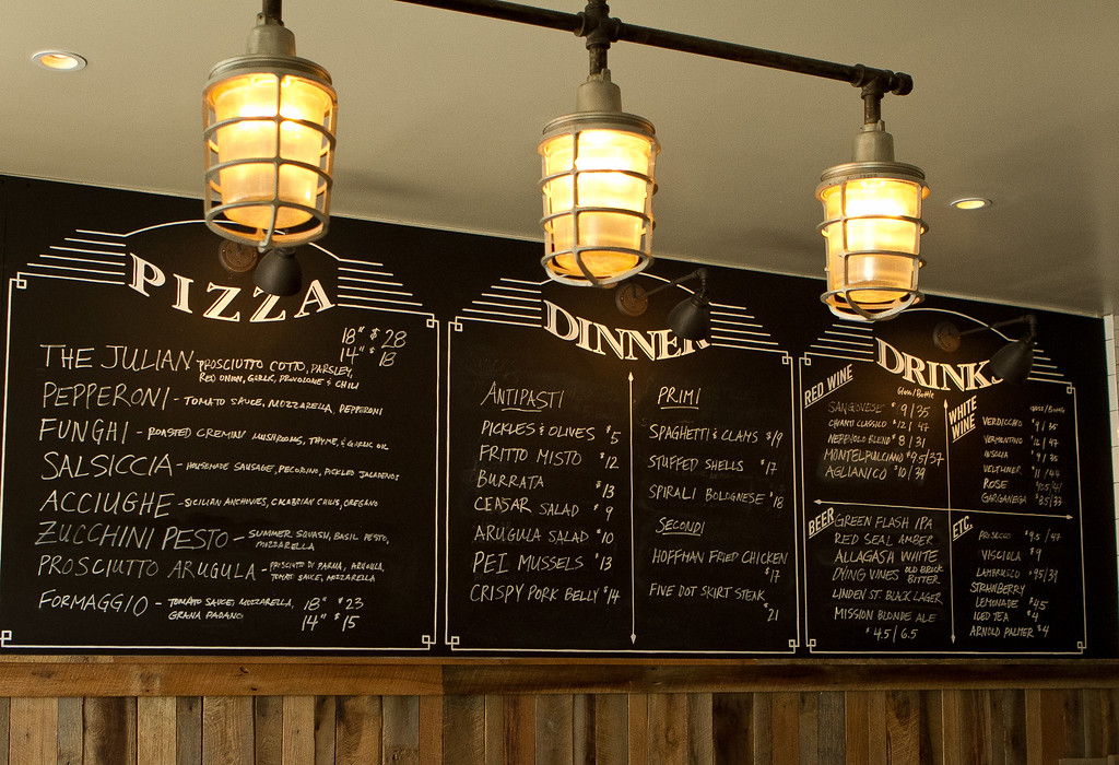 The menu at Giola Pizzeria in San Francisco, Calif., is seen on Friday, June 22nd, 2012.
