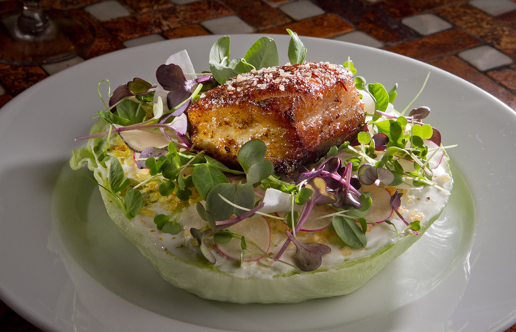 "The Berkshire Pork Belly ""Wedge"" at Goose & Gander Restaurant in St. Helena, Calif., is seen on Wednesday, May 16th, 2012."