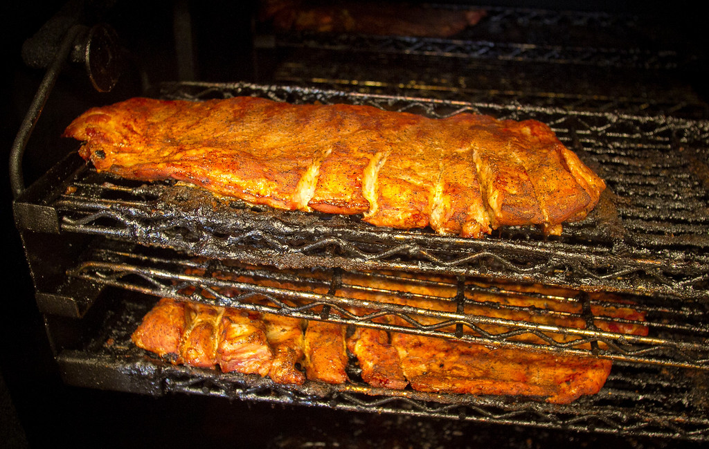 Ribs in the smoker at Gorilla Barbeque in Pacifica, Calif., is seen on Monday, December 12th,  2011.