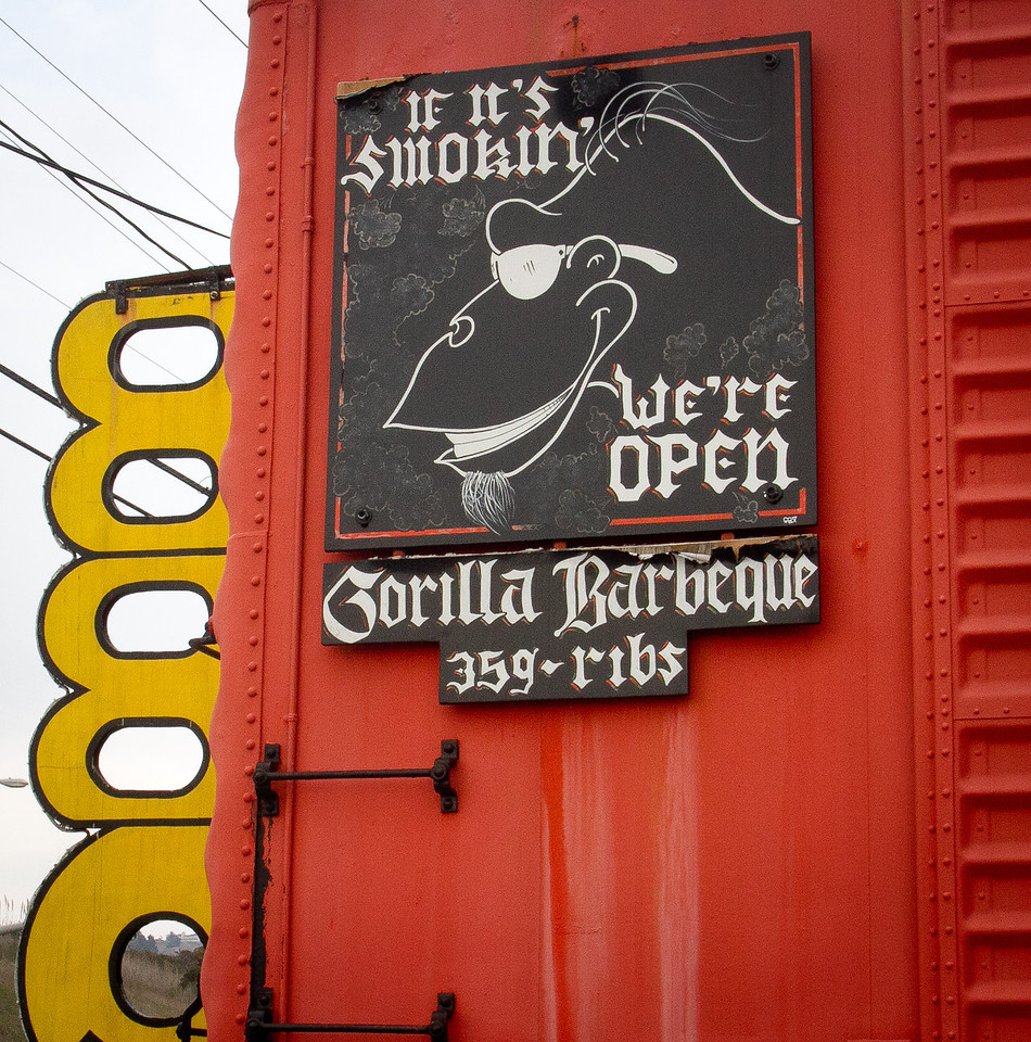 The sign on the side of Gorilla Barbeque in Pacifica, Calif., is seen on Monday, December 12th,  2011.