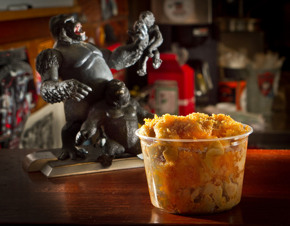 The extra large Mac 'N' Cheese at Gorilla Barbeque in Pacifica, Calif., is seen on Monday, December 12th,  2011.