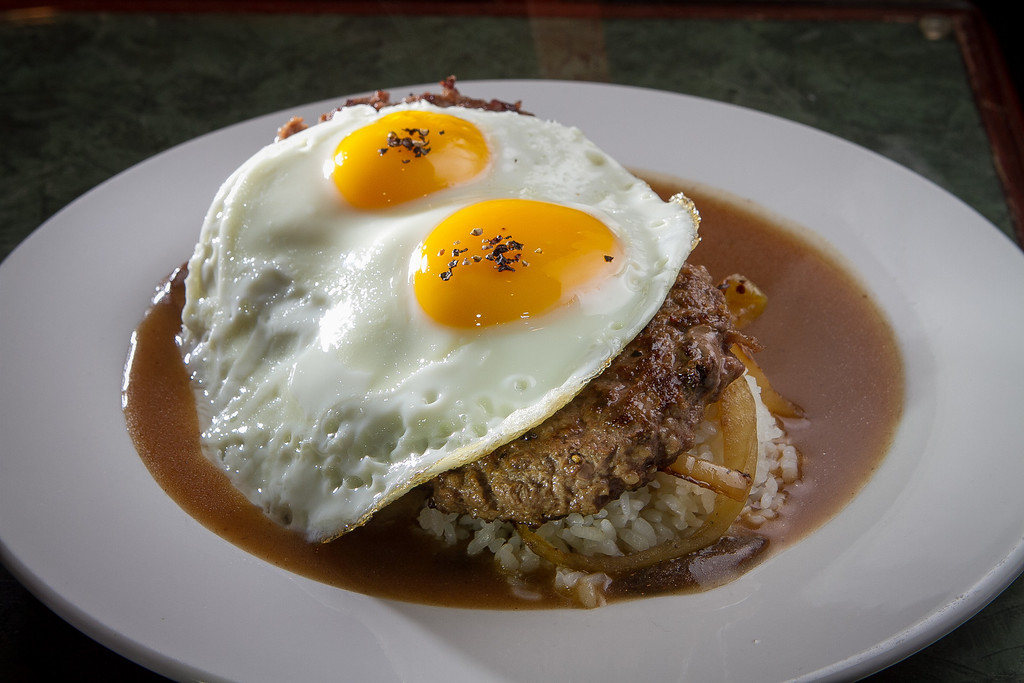 The Loco Moco plate at Grindz restaurant in San Francisco, Calif., is seen on Thursday, January 10th, 2013.