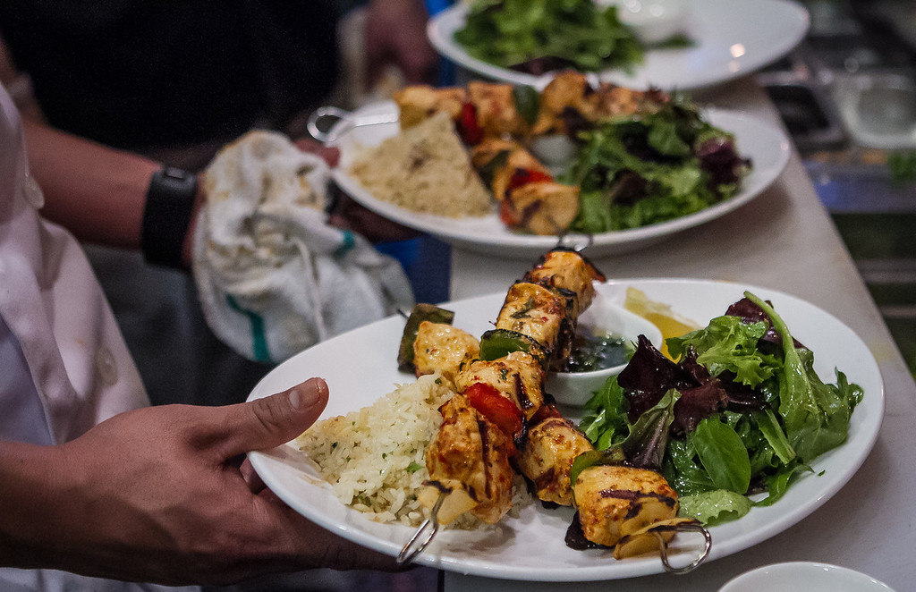 Chicken Kebabs at Machka restaurant in San Francisco, Calif. are seen on Monday, February 25th 2013.