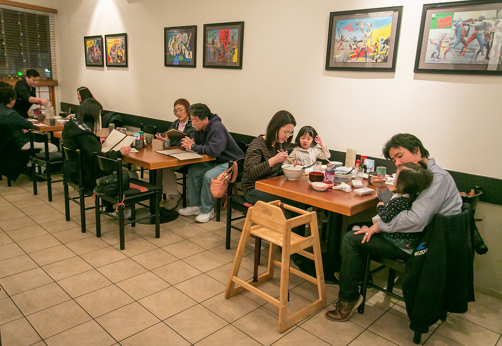 People enjoy dinner at Hisago restaurant in San Francisco, Calif. on Sunday, February 10th, 2013.