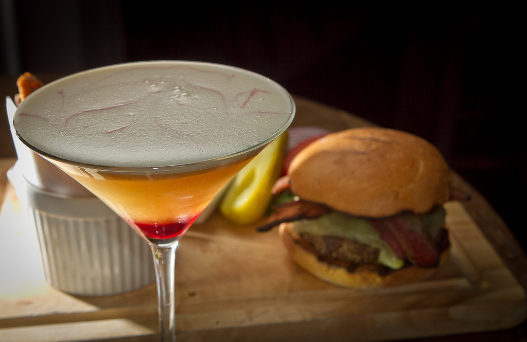 """The """"My Dear Watson"""" cocktail and the Hudson Hamburger at the Hudson Bar in Oakland, Calif., is seen on Tuesday, February 28th, 2012."""