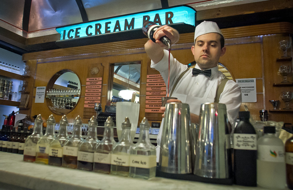 Christopher Simpson creates a soda at the Ice Cream Bar in San Francisco,  Calif., on Saturday, March 10th, 2012.