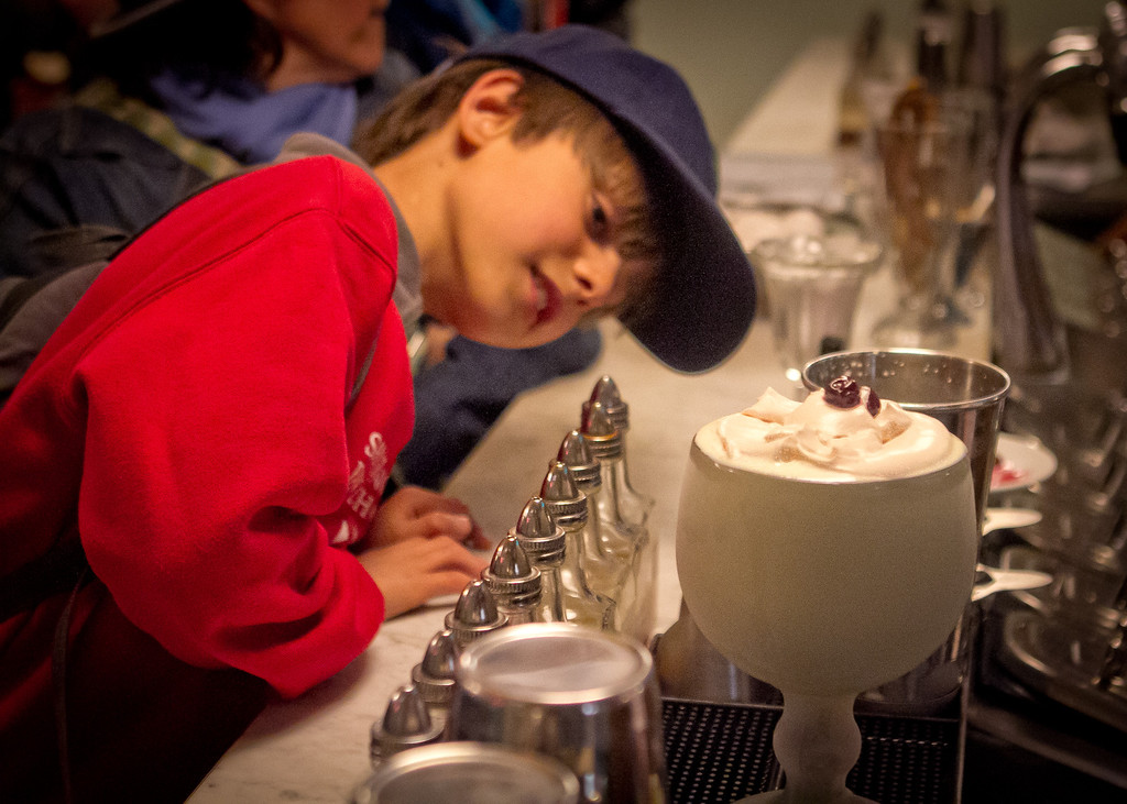 Jackson Cooley, 9, eyes the Pistachio Milkshake at the Ice Cream Bar in San Francisco,  Calif., on Saturday, March 10th, 2012.