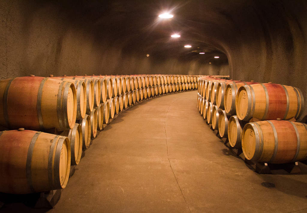 Barrels in the cave below the Inglenook Winery in Rutherford, Calif., is seen on Friday April 20th, 2012.