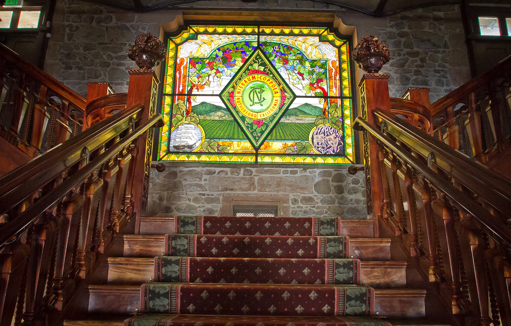 A stained glass window inside of the Inglenook Winery in Rutherford, Calif., is seen on Friday April 20th, 2012.