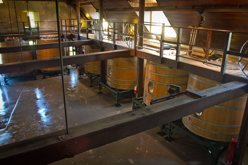 The fermentation room with catwalk at Inglenook Winery in Rutherford, Calif., is seen on Friday April 20th, 2012.