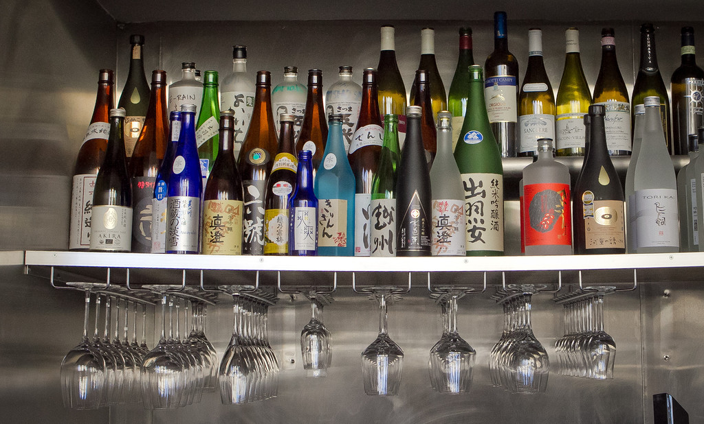 Bottles of Sake at Izakaya Yuzuki Restaurant in San Francisco, Calif., is seen on Saturday, March 31st, 2012.
