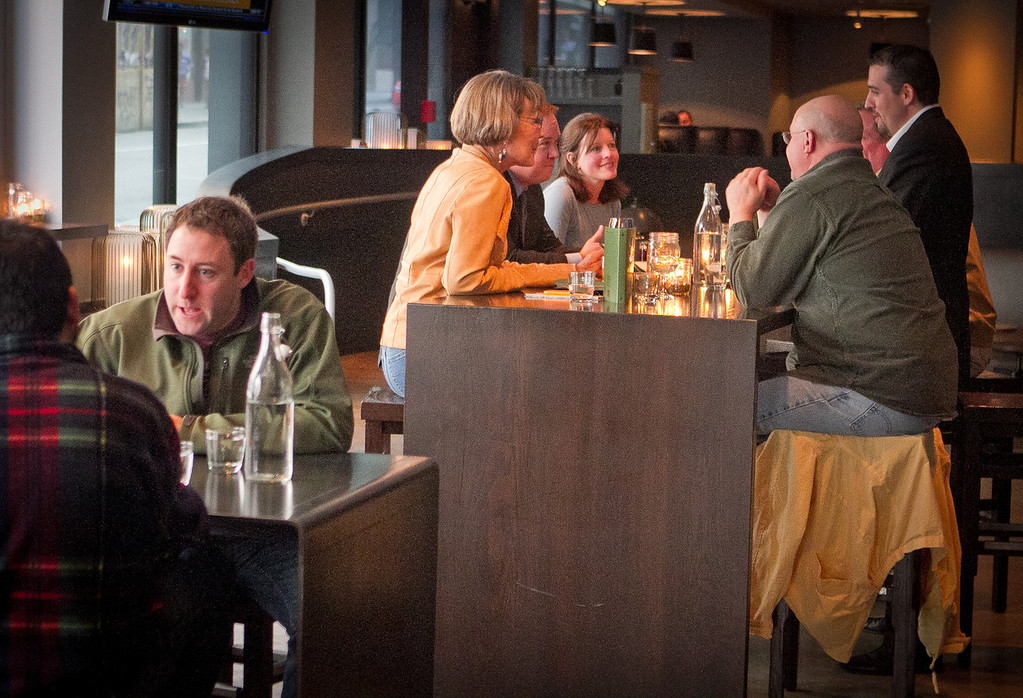 People enjoy Happy Hour at Jasper's Restaurant in San Francisco, Calif. on March 19th, 2012.